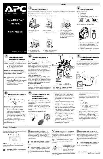 Back-UPS Pro ® 350 / 500 - APC Media