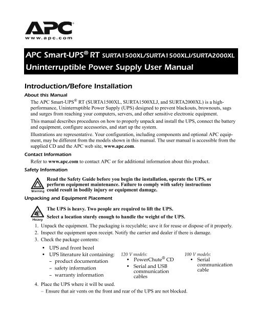 Smart-UPS RT 1500/2000 UPS Users Manual - APC Media