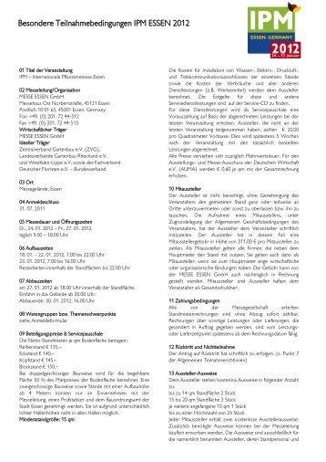 Besondere Teilnahmebedingungen IPM ESSEN 2012 - Schweissen ...