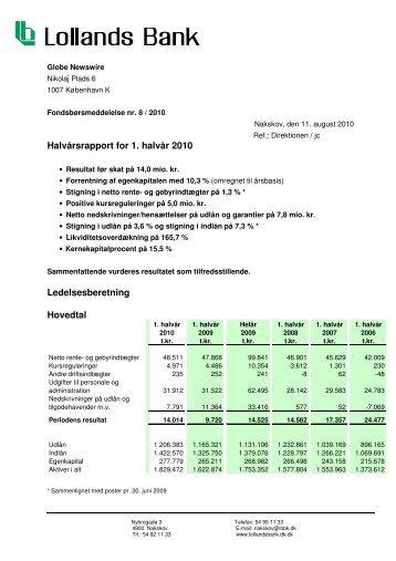 Halvårsrapport for 1. halvår 2010 ... - Lollands Bank