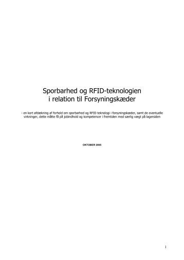 Sporbarhed og RFID-teknologien i relation til Forsyningskæder