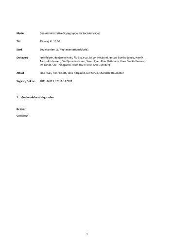 Referat fra mødet den 25. maj 2011 - Rammeaftaler Nord