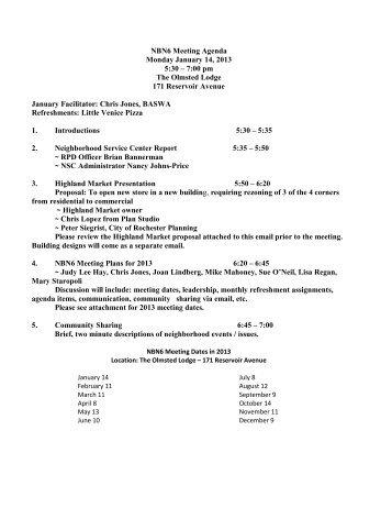 NBN6 Meeting Agenda Monday January 14, 2013 5:30 – 7:00 pm ...