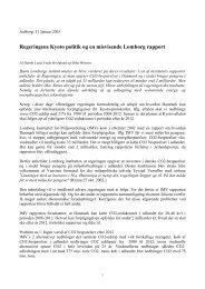 Regeringens Kyoto politik og en misvisende Lomborg rapport