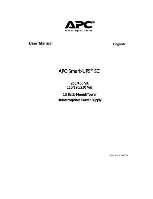 APC Smart-UPS SC450 Manual - ExcessUPS