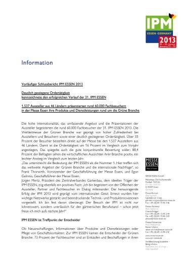 Vorläufiger Schlussbericht IPM ESSEN 2013 Deutlich gestiegene ...