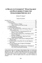 Wild Salmon and Hatcheries under the Endangered Species Act, A