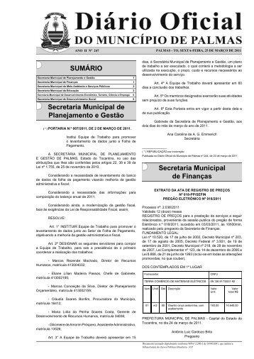 Diário Município Nº 247- 25-03.indd - Diário Oficial de Palmas