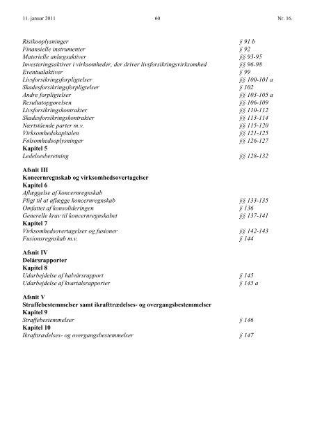 bemærkninger til regnskabsbekendtgørelsen - Forsikring & Pension