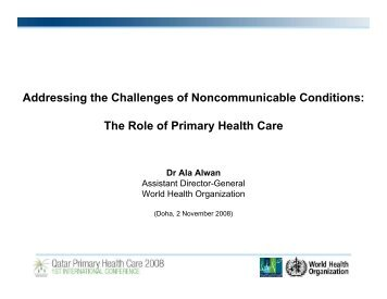 Addressing the Challenges of Noncommunicable Conditions: The ...
