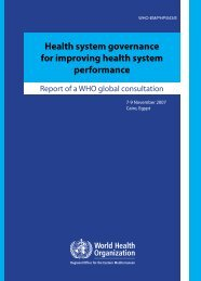 Health system governance for improving health system performance