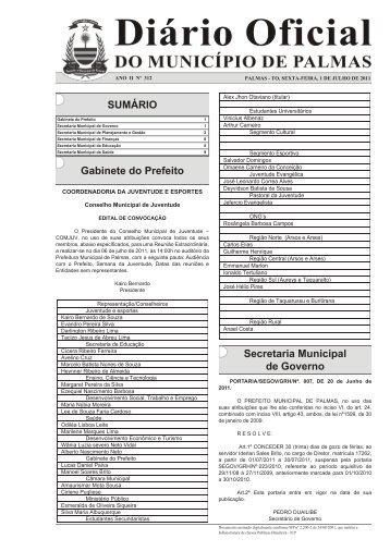 SUMÁRIO Gabinete do Prefeito Secretaria Municipal de Governo
