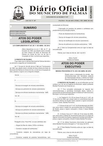 Suplemento do Diário Município Nº 497 - Diário Oficial de Palmas