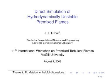 Direct Simulation of Hydro-dynamically Unstable Premixed Flames
