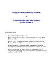 Baggrundsrapporter og notater til Forsøgsvindmøller ved Kappel på ...