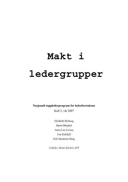 Makt i ledergrupper - Helse Midt-Norge