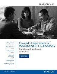 CO Insurance Candidate Handbook - Pearson VUE