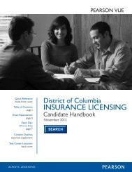 District of Columbia Insurance Candidate Handbook - Pearson VUE