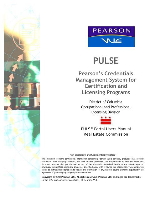 PULSE Portal Real Estate Commission Users Manual - Pearson VUE
