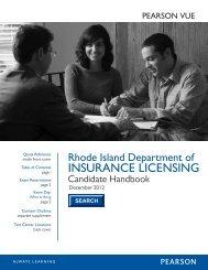 State of Rhode Island Insurance Candidate Handbook - Pearson VUE