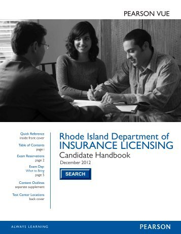 State of Rhode Island Insurance Candidate Handbook - Pearson VUE