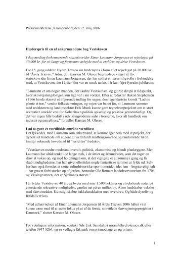 1 Pressemeddelelse, Klampenborg den 22. maj 2006 ... - Uno-X