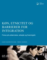 Køn, etnicitet og barrierer for integration, Fokus på uddannelse ... - SFI
