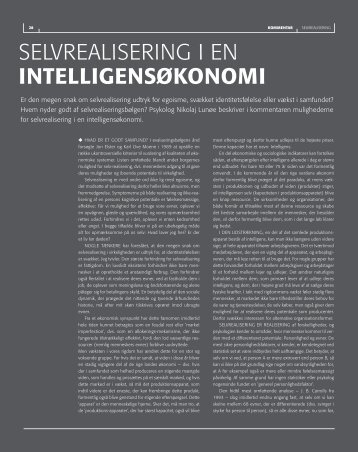 SELVREALISERING I EN INTELLIGENSøKoNoMI - DPU
