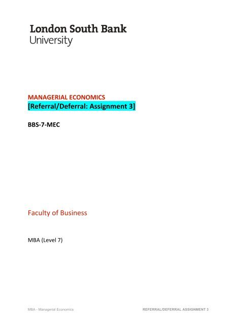BBS-7-MEC (R-D Assign 3) - Faculty of Business