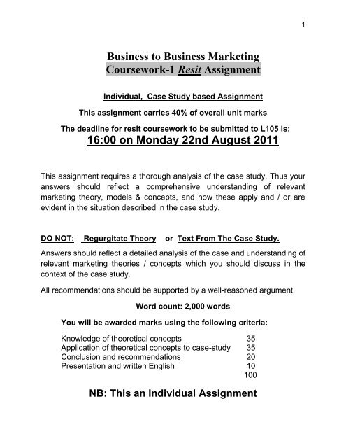 Business to Business Marketing Coursework-1 Resit Assignment 16