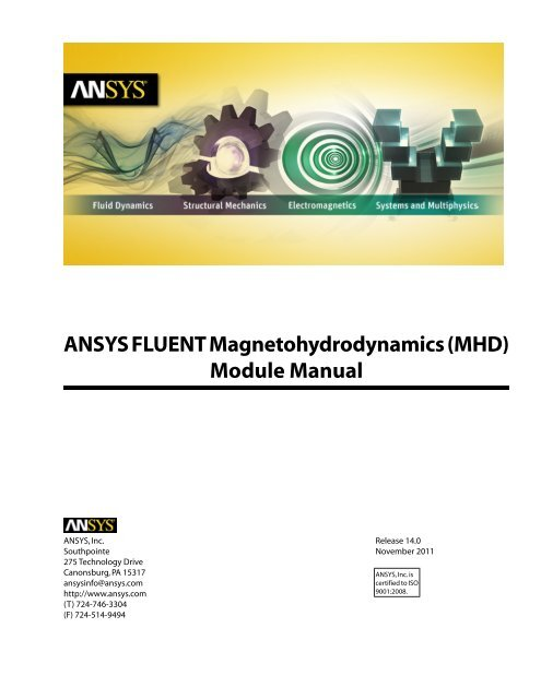 ANSYS FLUENT Magnetohydrodynamics (MHD) Module Manual