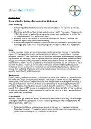 Ensure Market Access for Innovative Medicines - Bayer HealthCare
