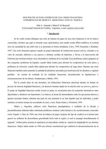 DOS POLITICAS PARA ENFRENTAR UNA CRISIS FINANCIERA ...