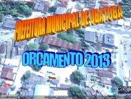 Orçamento 2013 - Secretaria Municipal de Fazenda