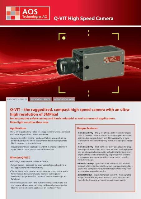 Q-VIT High Speed Camera - AOS Technologies AG