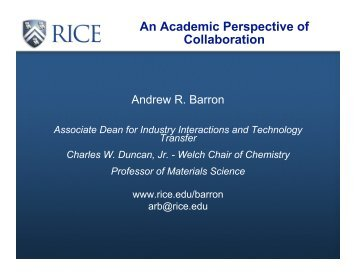 An Academic Perspecitve of Collaboration - Barron Research Group ...