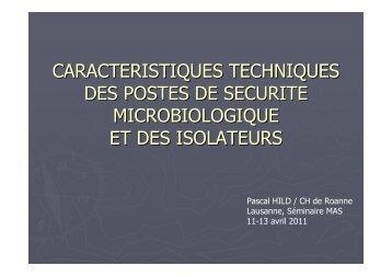 caracteristiques techniques des postes de securite ... - CHUV