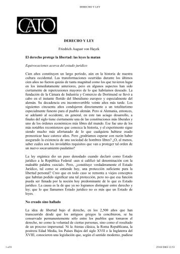 DERECHO Y LEY Friedrich August von Hayek El derecho protege la ...