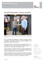 Ny Adria forhandler i Aarhus‐området - ADRIA DANMARK