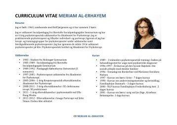Se Meriams CV - INSTITUT FOR SOCIAL SUNDHED