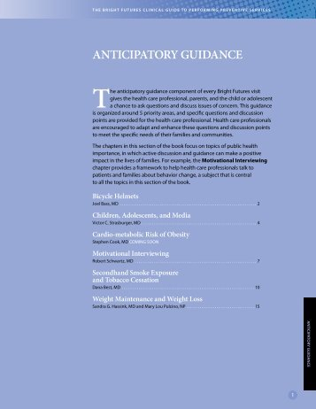 ANTICIPATORY GUIDANCE - Bright Futures - American Academy of ...