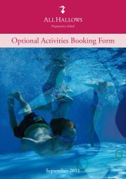 Activities Booking Form 2011 12 - All Hallows School - Extranet