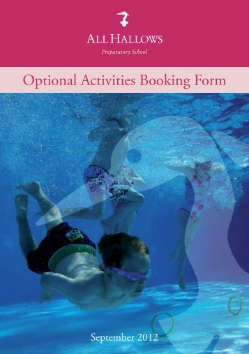 Optional Activities Booking Form - All Hallows School - Extranet