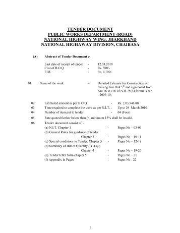 tender document public works department (road) - Information ...