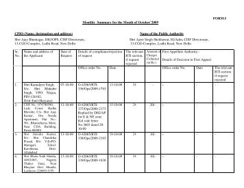RTI Report for the Month of October'2009 - CISF