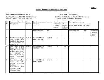 RTI Report for the Month of June'2009 - CISF