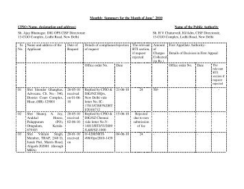 RTI Report for the Month of June'2010 - CISF