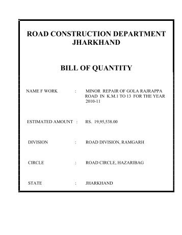 Bill of quantity for the construction of high level bridge over road construction department jharkhand bill of quantity altavistaventures Choice Image