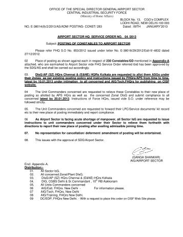 Posting of Constables to Airport Sector - CISF
