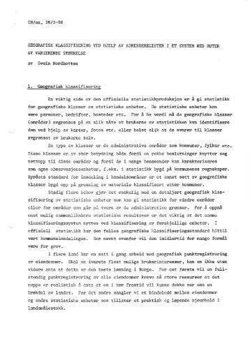 SN/ea, 26/3-68 av Svein Nordbotten 1. Geografisk klassifisering En ...